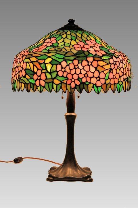 Signed Handel Leaded Art Glass Lamp - Cherry Blossom