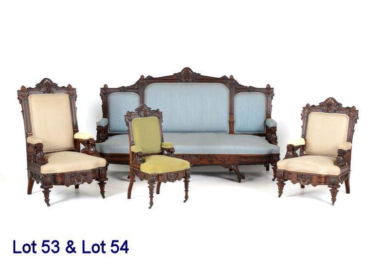 Rare & Important 3-Pc Parlor Suite Herter Bros 1870s