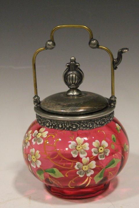 Victorian Glass Cranberry Enameled Jelly Jar