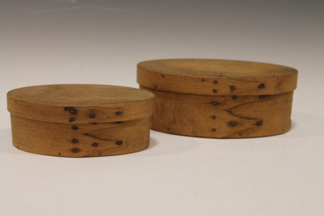 Lot of 2 Oval Pantry Boxes - Double Finger Bands