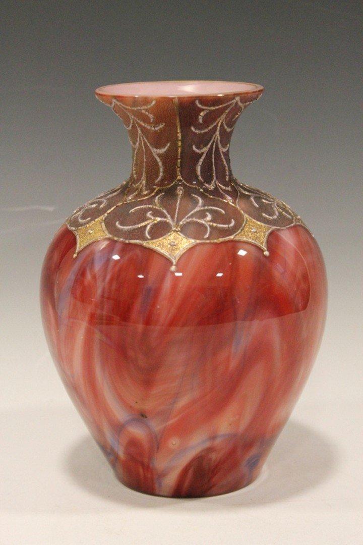 Stevens Williams Mottled Oxblood Art Glass Vase