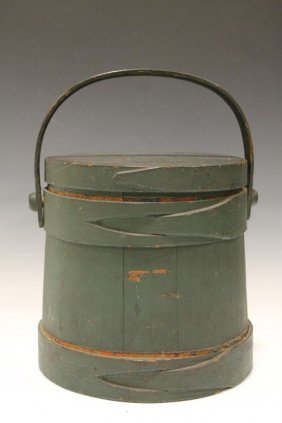 Green Painted Shaker Firkin Button Hole Lapped Bands