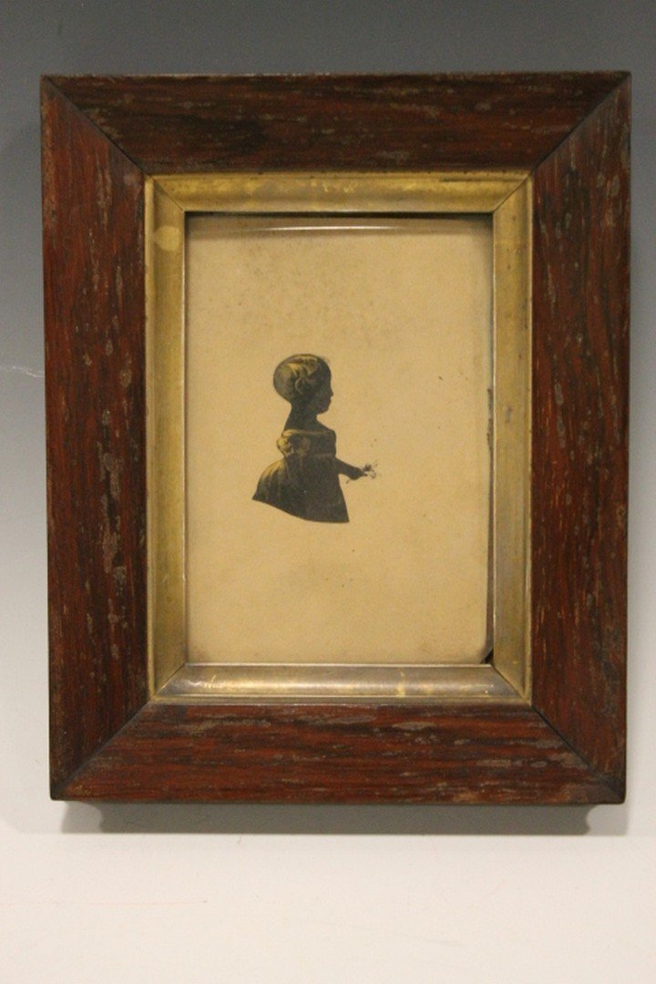 19th C Silhouette Portrait of Small Child Holding Posy
