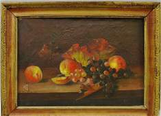O/C Still Life Painting Fruit - 19th C. - H. Willet