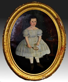 Huge 5 Ft H X 4 Ft W Painting Of Girl & Racket 1800s