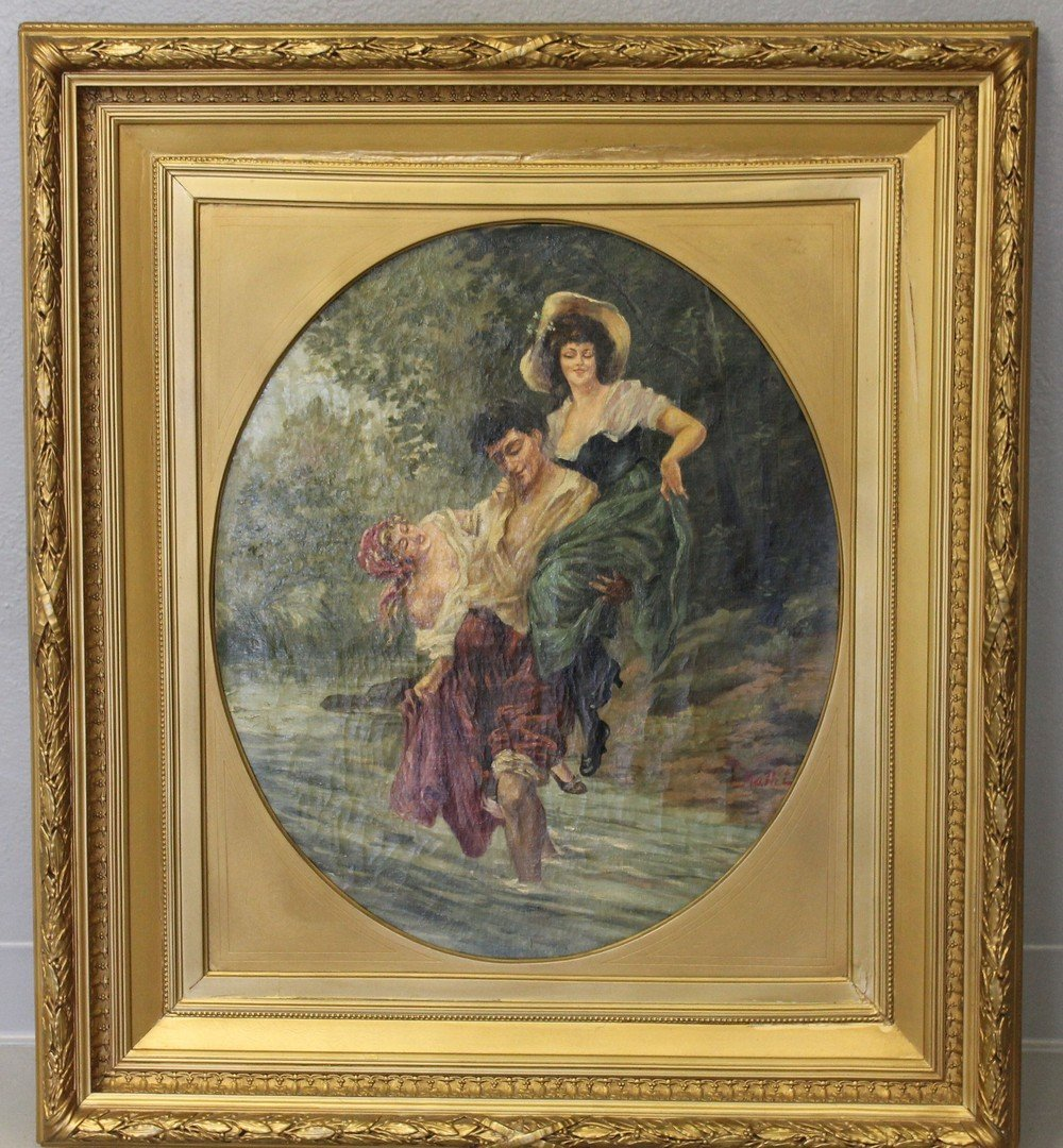 Painting Signed Hallet - Frolicking Gypsies 19th C