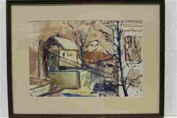 1935 Sam Opfer Watercolor Street Scene Painting