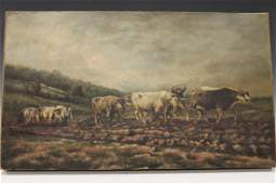 Oil Canvas Painting  Oxen with Farmers