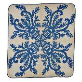 Early 20th C Hawaiian Quilt Blue and White