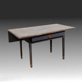 19th C Painted Tavern Table - New England, Drop Side