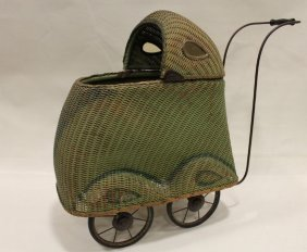 Early 20th Century Unusual Wicker Doll Carriage Buggy
