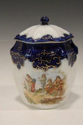 Flow Blue Porcelain Scenic Cracker Jar