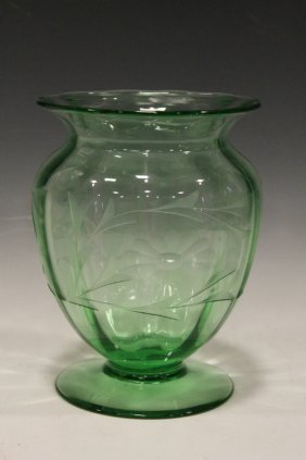 Libbey Art Glass Vase W/ Etched Flowers