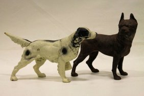 Pair Cast Iron Doorstop Dogs