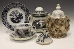 Group of 4 Transferware Mulberry Staffordshire