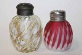 Hobbs Cranberry Opalescent Swirl Salt Shakers