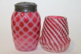 Victorian Cranberry Toothpick & Salt Shaker