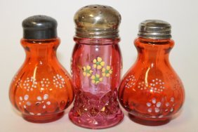 Victorian Glass Salt Shakers - Cranberry