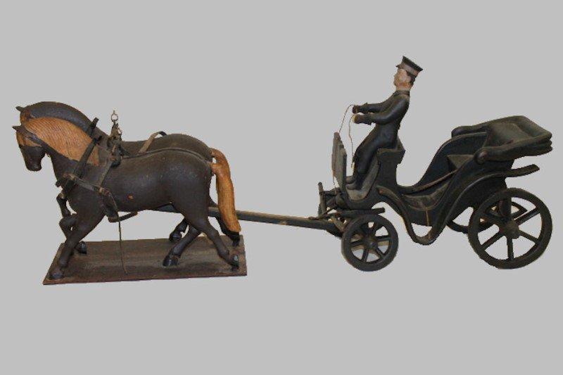 Rare American Folk Art Horses & Carriage & Driver