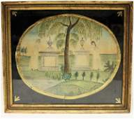 Rare Early 19th C Mourning Watercolor Painting