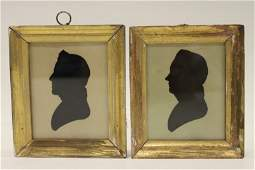 Pair Hollowcut Silhouettes - 1820, Peale Museum