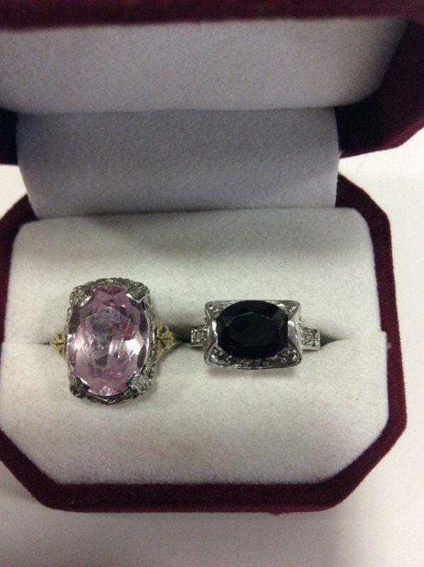 14K White Gold Lady's Ring & 18K GF Lady's Ring