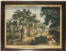 Currier  Ives Lithograph Home in the Country