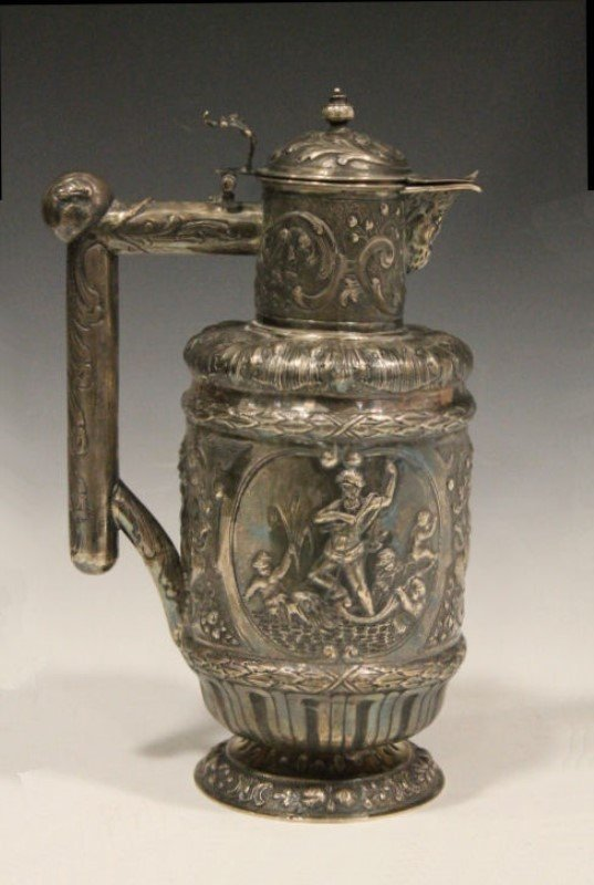 19th C Silver Ewer - Repousse Mythological