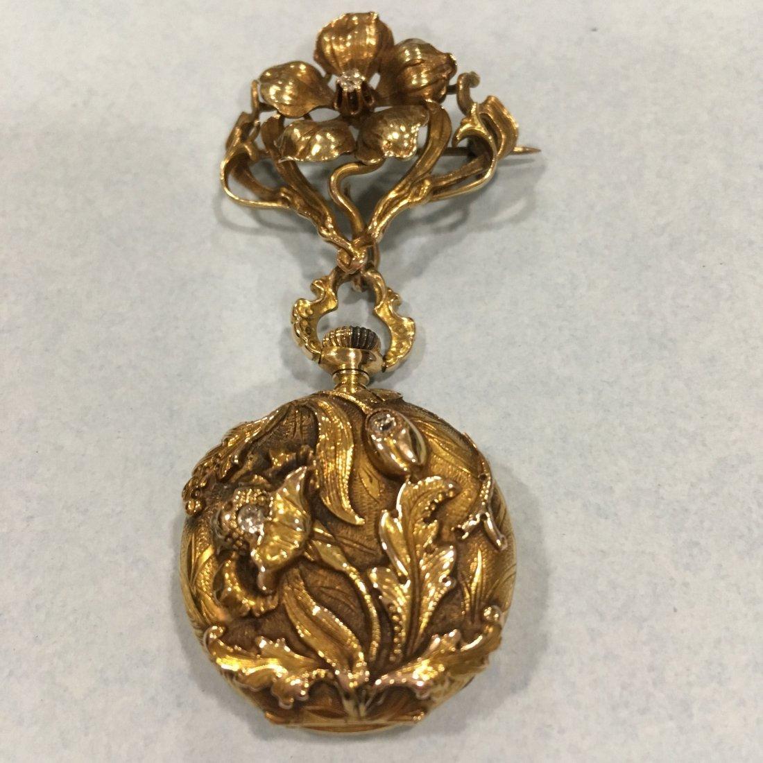 Art Nouveau Lady's 14K Diamond Pendant Watch
