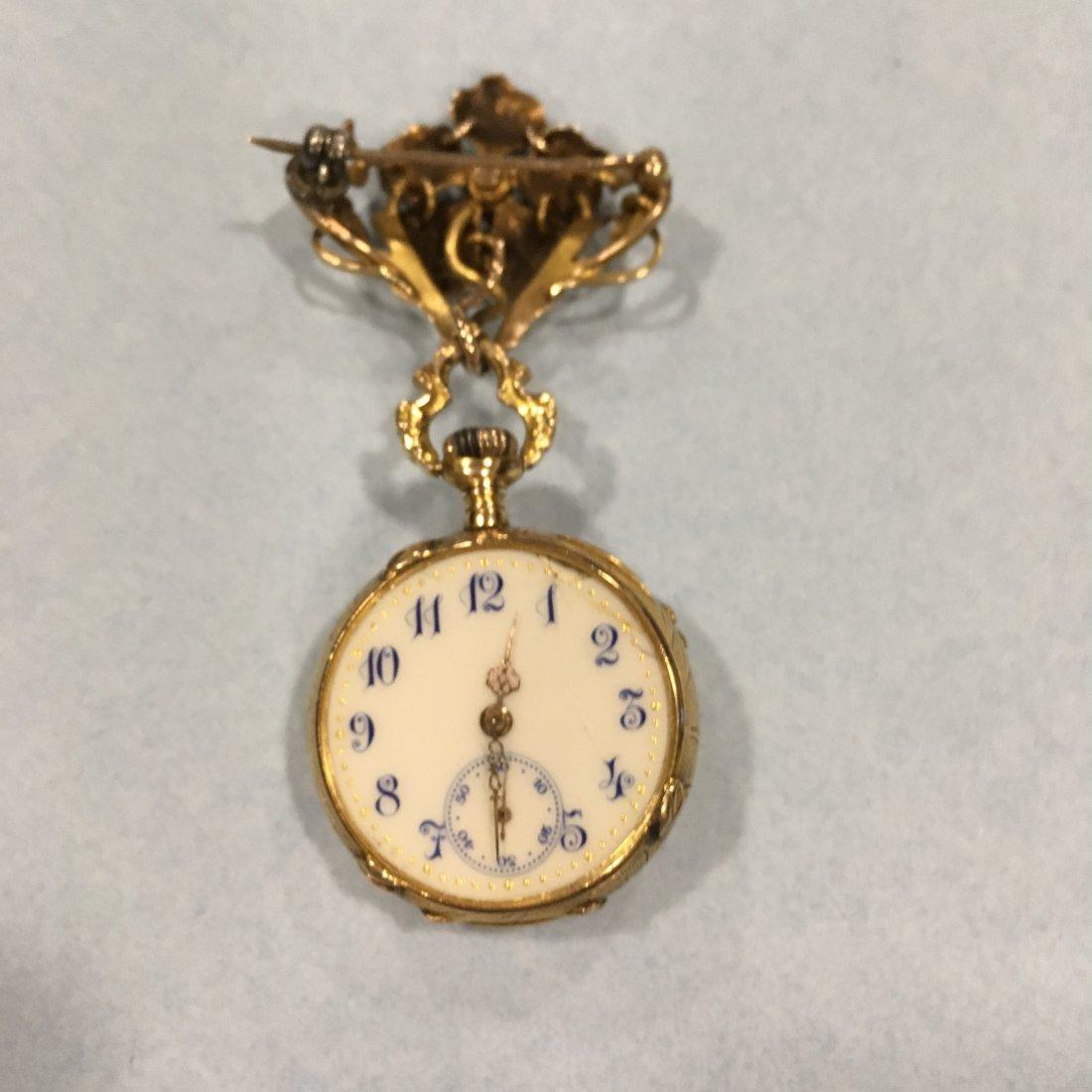 Art Nouveau Lady's 14K Diamond Pendant Watch - 2