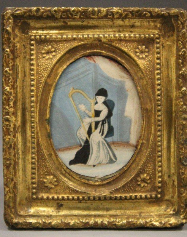 Rare Miniature Portrait Girl w/ Harp 19th C
