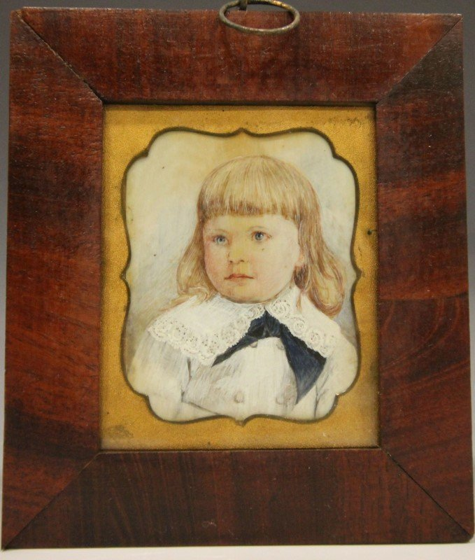 Miniature Portrait of Young Girl - Mid 19th C.