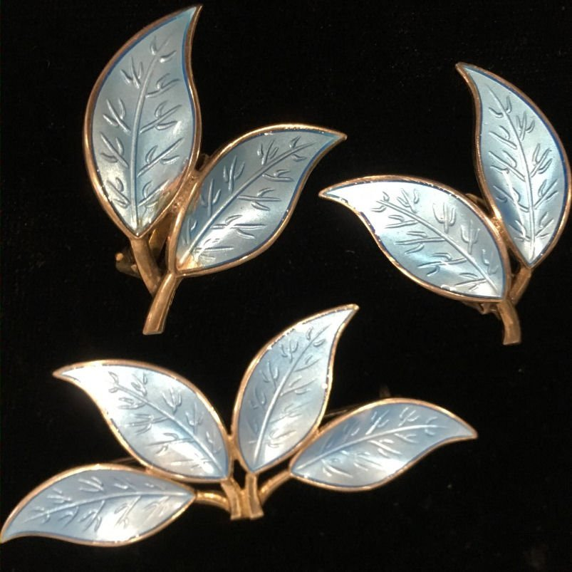 David Andersen Sterling Brooch & Earrings