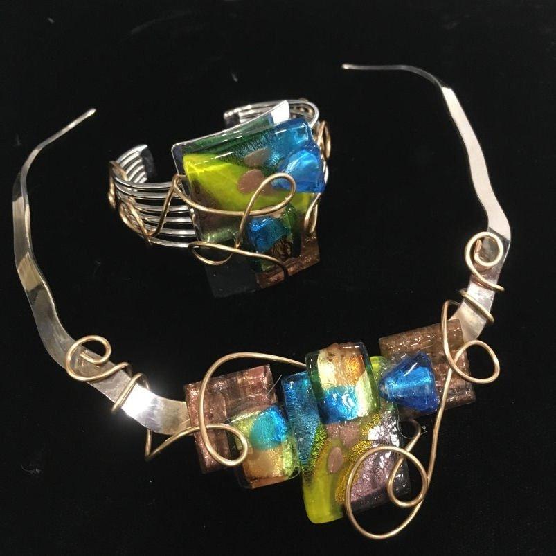 Wire & Fused Glass Necklace & Bracelet