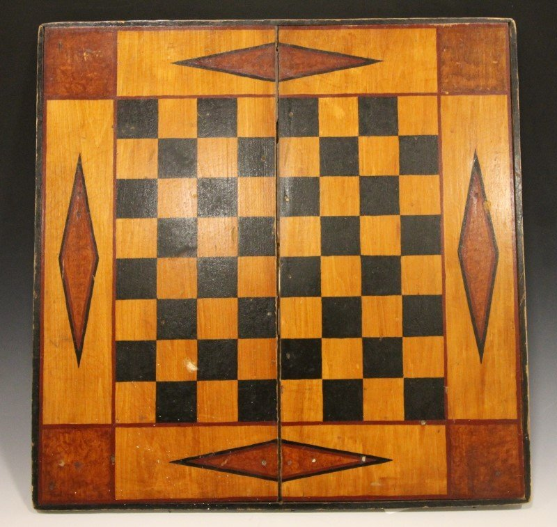 19th C Paint Decorated Game Board