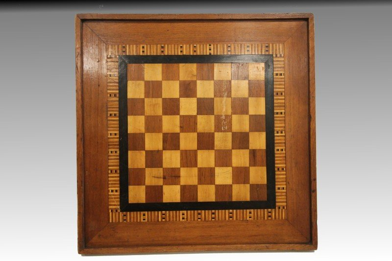 19th C Parquetry Game Checkers Board
