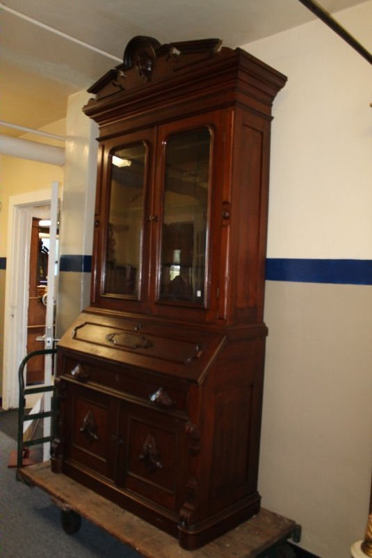 Tall Early 19th C Walnut Bookcase Desk