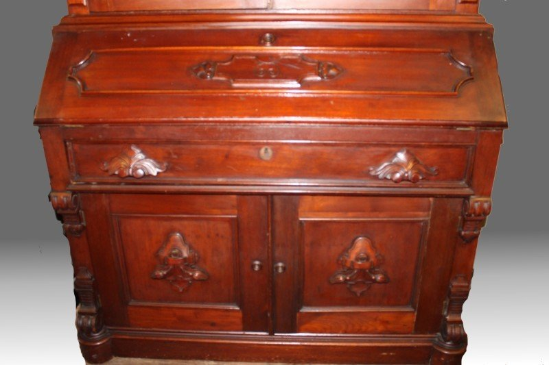Tall Early 19th C Walnut Bookcase Desk - 3