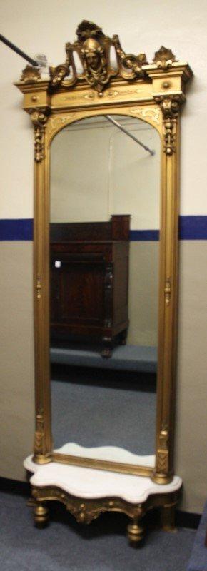 Tall Fancy Giltwood Pier Mirror -Marble Base