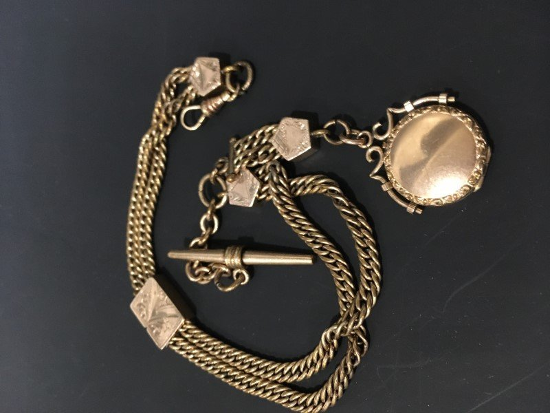 Albert Pocket Watch Chain GF w/ Locket Fob