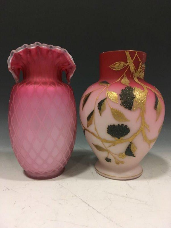 Victorian Art Glass Vases - Webb