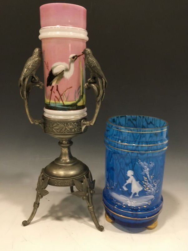 Victorian Vases Mary Gregory & Egret