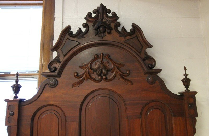2-Pc Walnut Victorian Bed & Dresser - 2