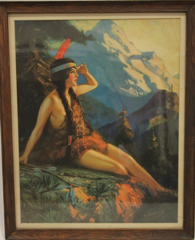1920s Hy Hintermeister Indian Girl Print