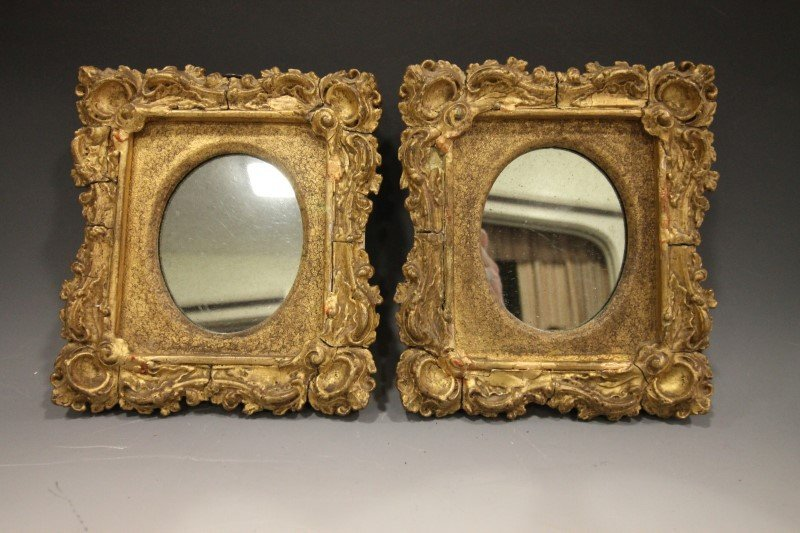 Mid-19th C Gilded Looking Glass / Mirrors