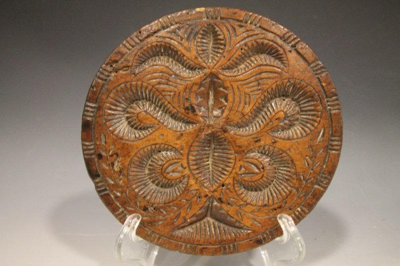 18th C Rare Carved Walnut Butter Stamp