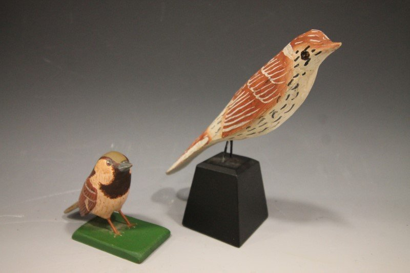 Pair Carved & Painted Birds