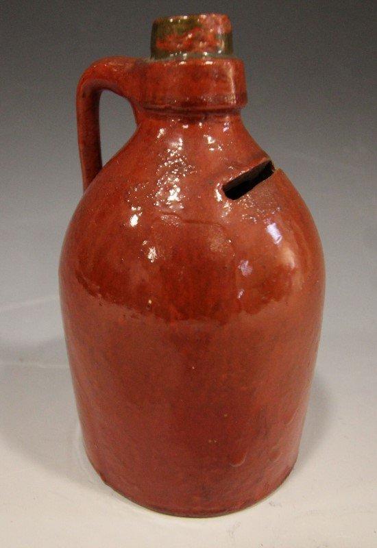 Glazed Redware Jug Bank - 19th C.