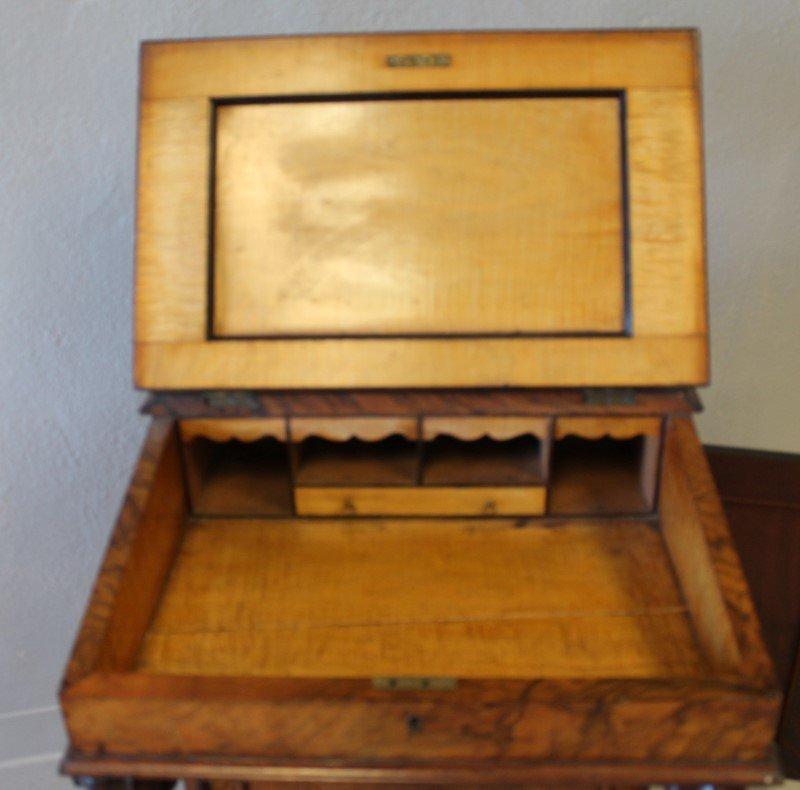 Rosewood Davenport Desk & Tiger Maple - 3