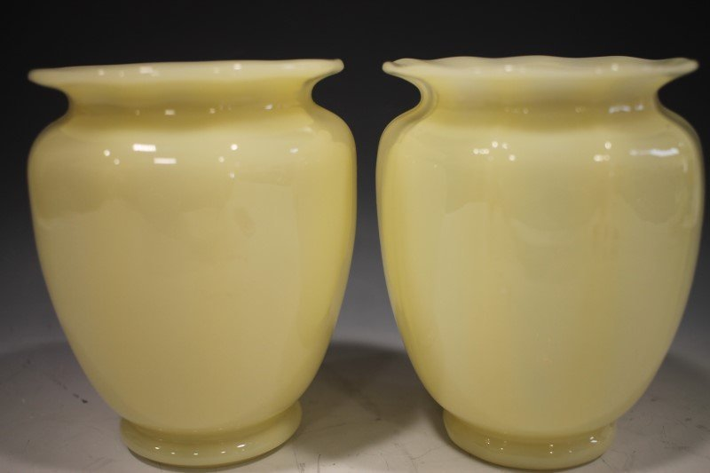 Pr Steuban Ribbed Optic Ivory Vases
